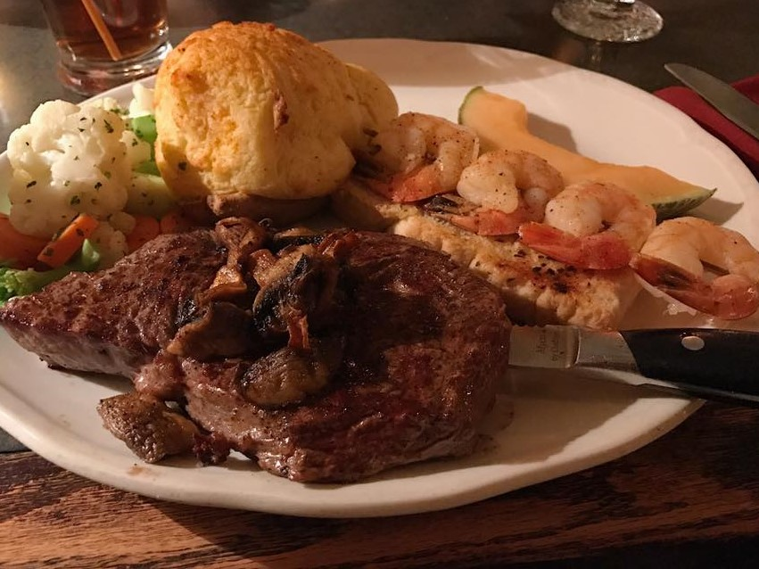 steak and prawns